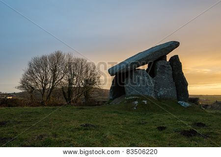 Trethevy Quoit at sunrise