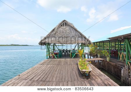 Tropical restaurant on the stilts