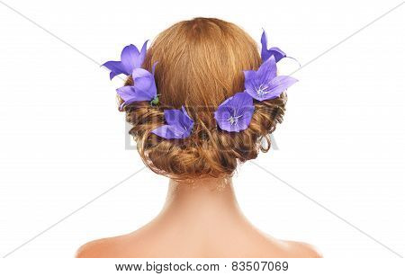 Hair Girl With Flowers And Lilac Purple Hair