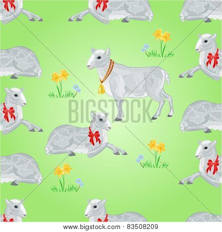 Seamless Texture Easter Lambs And Daffodils  Vector