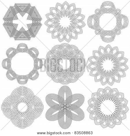 Set Of Nine Black Circular Stencils
