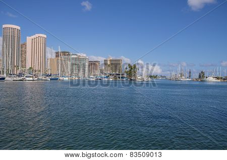 Ala Wai Harbor and Waikiki.