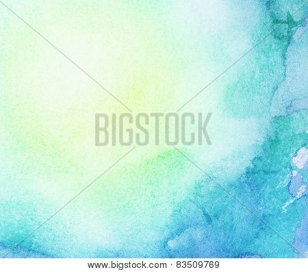 Painted watercolor water and sun, colorful spring, summer background