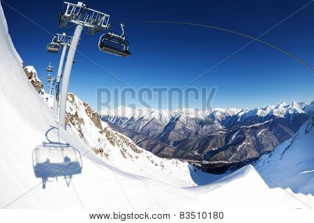 Chair lift ropeway panorama over mountain