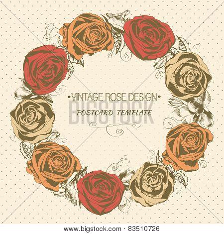 Vintage rose wreath. Vector greeting card