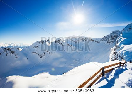 Winter landscape view of Caucasus with fence