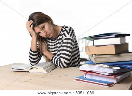 Young Stressed Student Girl Studying And Preparing Mba Test Exam In Stress Tired And Overwhelmed