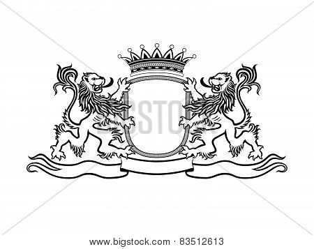 Heraldry Crest With Lions