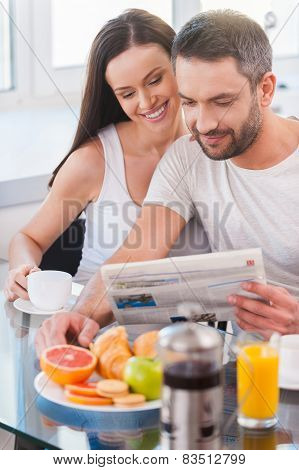 Reading Fresh Newspaper Together.