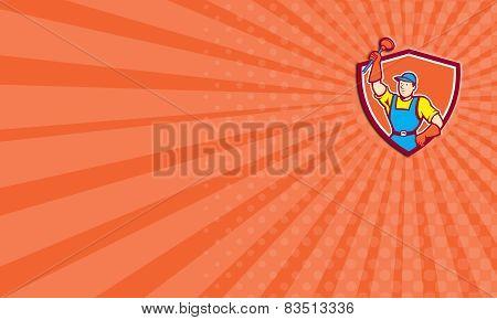 Business Card Plumber Holding Plunger Up Shield Cartoon