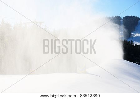 The Slope Of Bukovel Ski Resort With Working Snow Machine, Ukraine