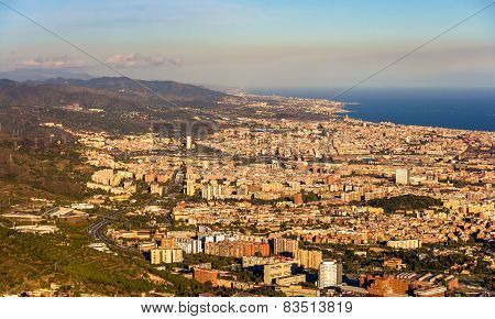 View Of Barcelona From The Top Of Sagrat Cor Temple