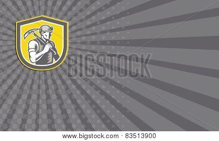 Business Card Coal Miner Pick Axe Shield Retro