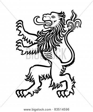 Lion Heraldic Stylized 01