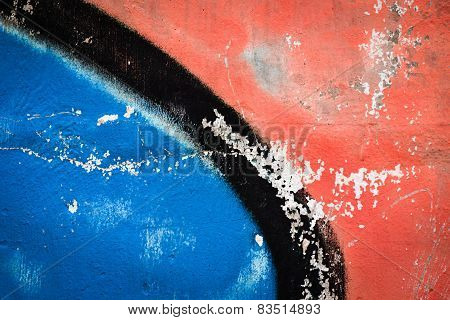 Blue And Red Sprayed Concrete Block