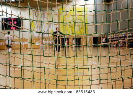 Futsal Goalkeeper Looking To The Field