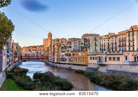 View Of The Embankment In Girona - Catalonia, Spain