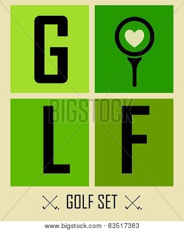 Postcard. Golf. Vector Labels. Background. Golf Philosophy. Love Golf