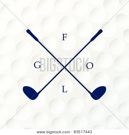 Emblems Golf Clubs. Retro Label Design. Realistic Rendition Of Golf Ball Texture Closeup. Seamless B