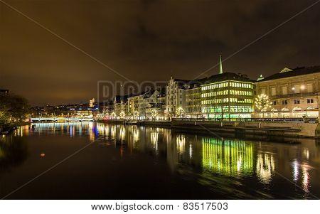 The Embankment Of Zurich At Night - Switzerland
