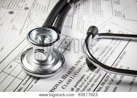 Medical Record Form With A Stethoscope