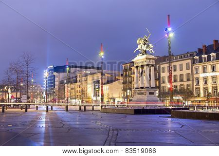Clermont-ferrand, France - February 2015 : Vercingetorix Statue, Place De Jaude In The Evening At Cl