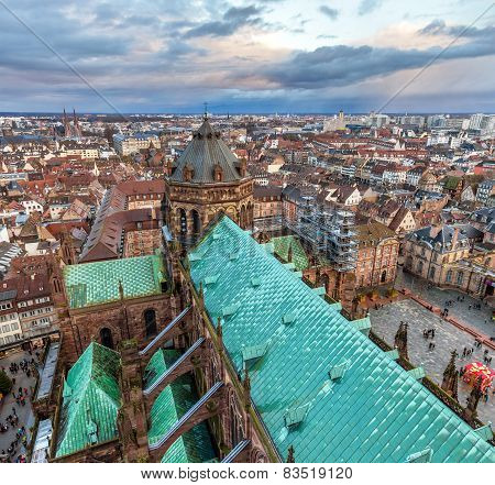 View Of Strasbourg With The Notre Dame Cathedral - Alsace, France