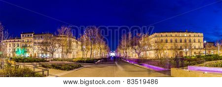 Evening View Of Feucheres Avenue In Nimes - France, Languedoc-roussillon