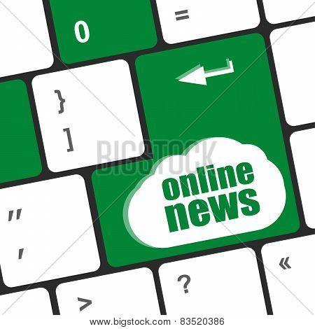 Online News Button On Computer Keyboard