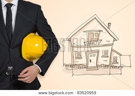 Businessman And Drawing House