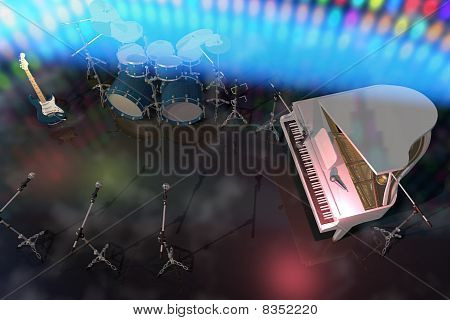 Musical Instruments On A Music Stage