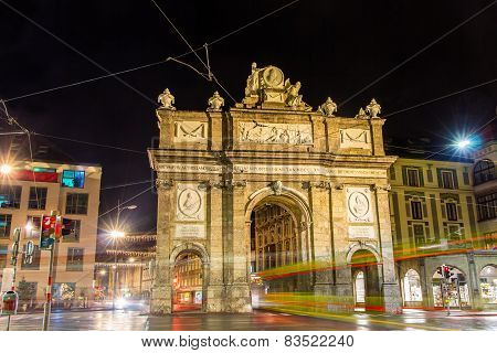 Triumphal Arch In Innsbruck At Night - Austria