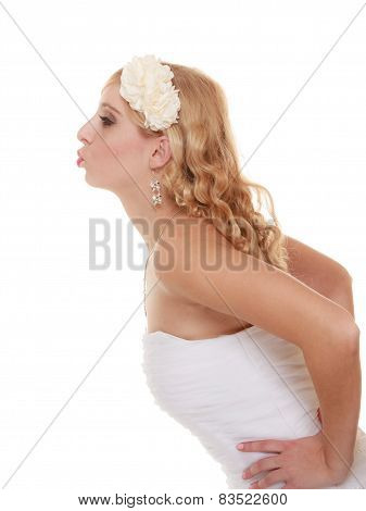 Wedding Day. Portrait Happy Bride Kissing