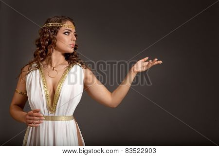 Classical Greek Goddess In Tunic Showing Something