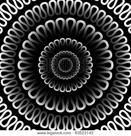 Vector Background. Radial Pattern On A Black Background