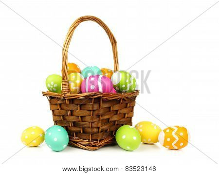 Basket filled with easter eggs
