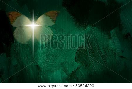 Glowing Christian cross with butterfly wings