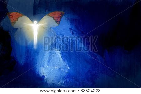 Abstract human figure with butterfly wings