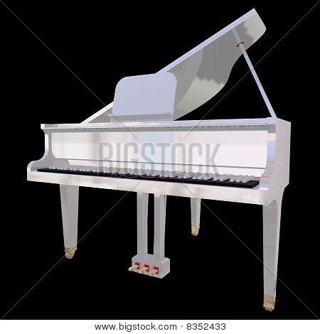 Gand Klavier auf schwarzem Hintergrund isoliert