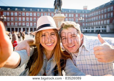 Beautiful Friends Tourist Couple Visiting Europe In Holidays Students Exchange Taking Selfie Picture