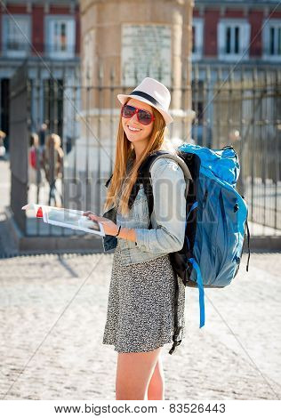 Happy Attractive Exchange Student Girl Having Fun In Town Visiting Madrid City Reading Tourist Guide