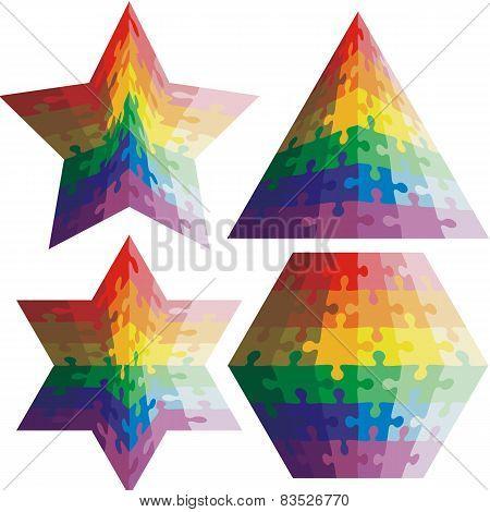 Jigsaw puzzle set  geometric shapes, colors rainbow. Vector illu
