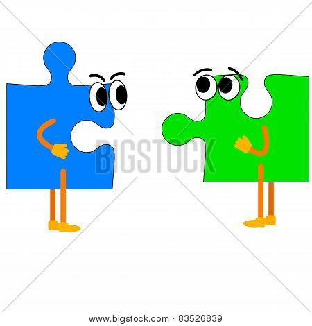Jigsaw puzzle with hands and feet. Vector illustration.