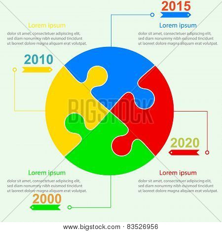 Infographics report templates in the form of a ball of jigsaw pu