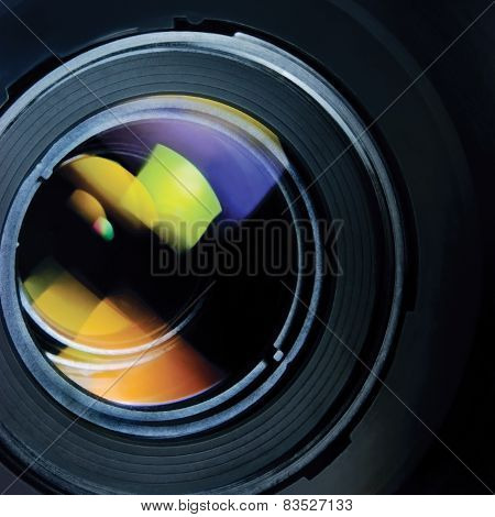 Lens And Hood, Large Detailed Macro Zoom Closeup