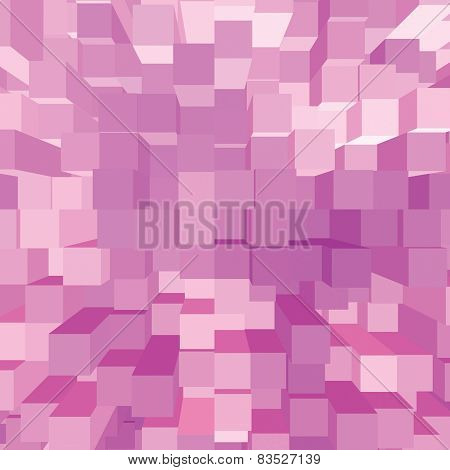 Bright Abstract Pink Geometric Square 3D Diagram Bar Bricks Pattern, Vertical Perspective Wallpaper