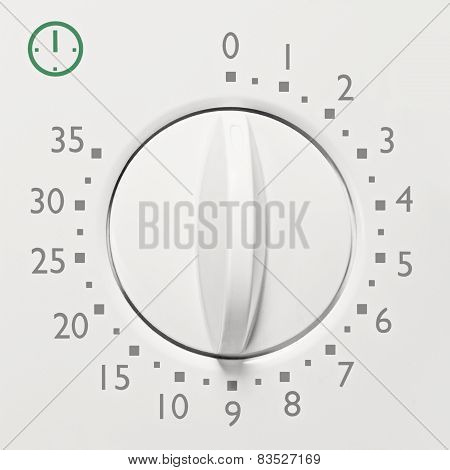 Analog 35 Minute Microwave Oven Timer, Analogue Vintage White Dial Face Macro Closeup, Grey Numbers
