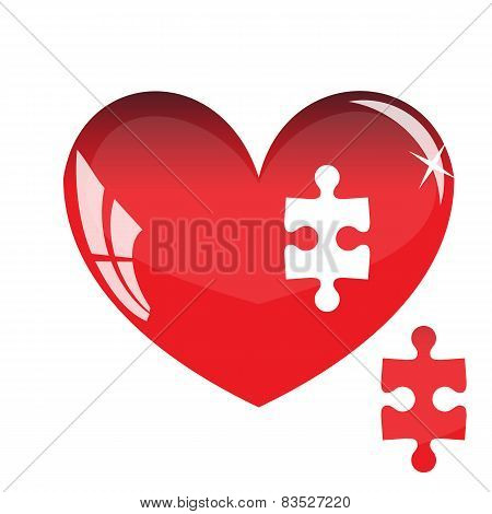 Jigsaw puzzle in the shape of a red heart. Vector illustration.