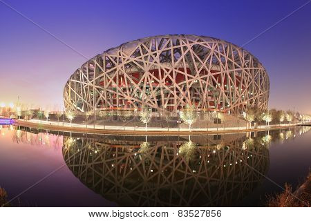 Beijing Olympic Stadium at twilight