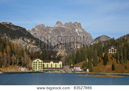 beautiful alpine village at Misurina